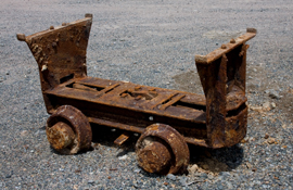 A piece of mining history: base of a vintage ore car (c. 1960s) from the North Zone, Mount Pleasant mine. Salvaged in 2009.