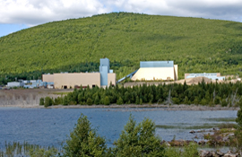 The Adex mine buildings, showing the tailings pond in the foreground, backed by Mount Pleasant.
