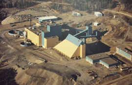 Aerial view of Mount Pleasant mine site, c. 1985.